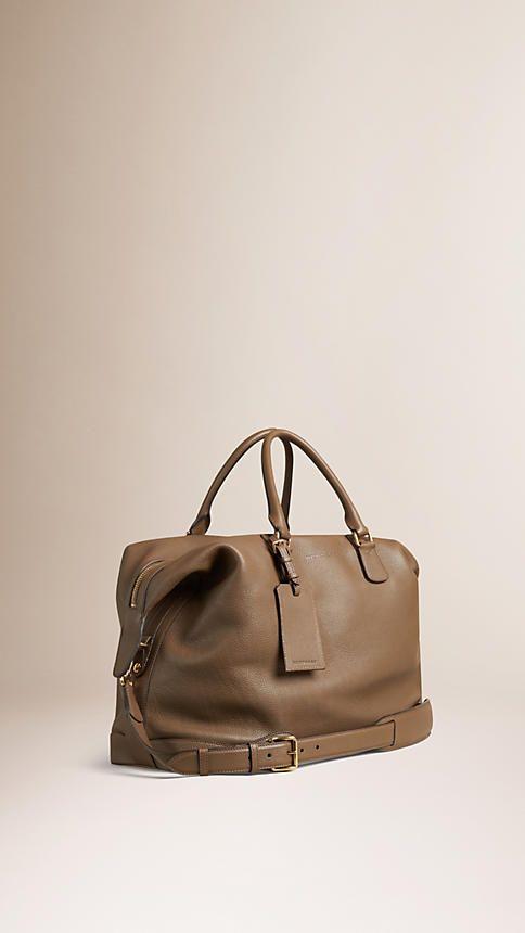 #Burberry Marrom cáqui Bolsa de viagem de couro de grão - Imagem 3