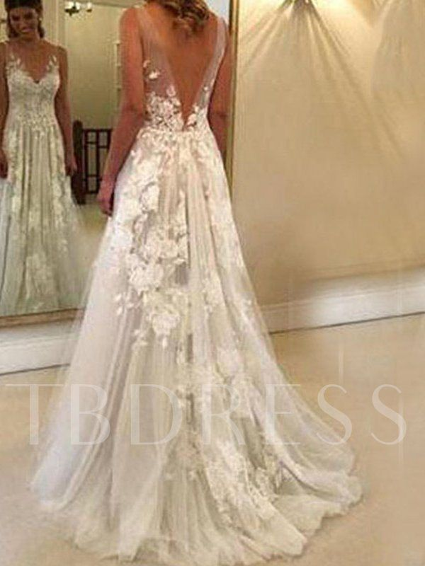 Hot Sale V Neck Appliques Beach Country Wedding Dress 2019 With