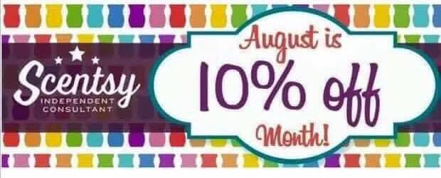 August 2016 almost everything in scentsy catalog is 10% off so time to stock up