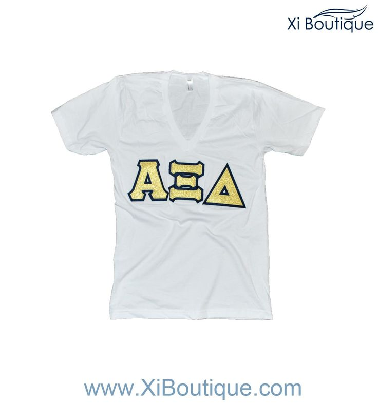 custom xi boutique alpha xi delta crisp white v neck gold sewn