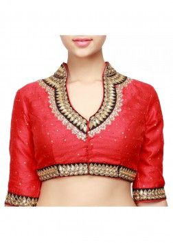 Red blouse with sequence embroidered collar only on Kalki