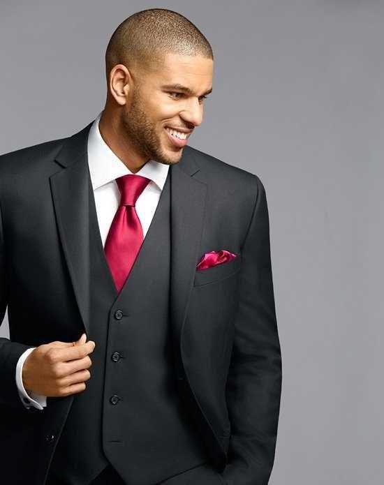 Men's Wearhouse Notch Lapel Black Suit Wedding Tuxedos + Suit photo