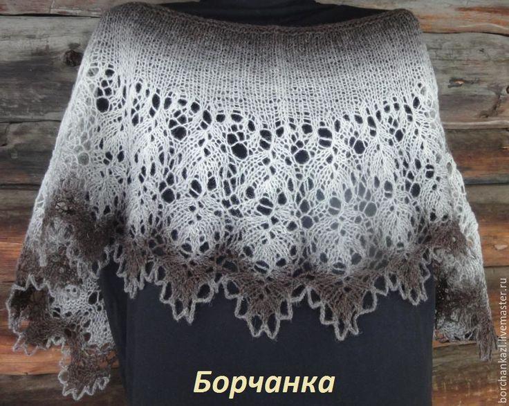 Купить Минишаль Деревенька моя фишю накидка на плечи шаль спицами в интернет магазине на Ярмарке Мастеров