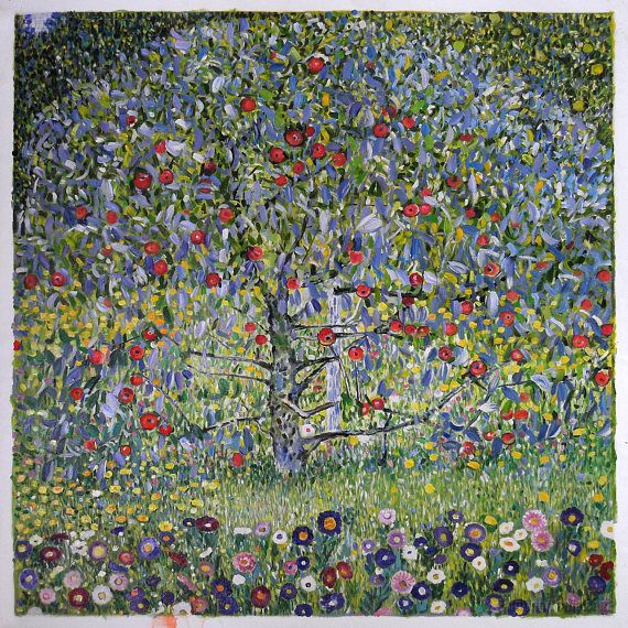 Apple Tree I - Gustav Klimt hand-painted oil painting reproduction,red apples ready for harvest,large wall art canvas,office decorations