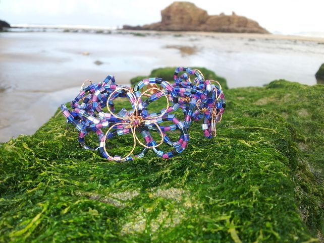 Harlequin Flower Purple Beaded Copper Wire Bridal Bracelet £20.00