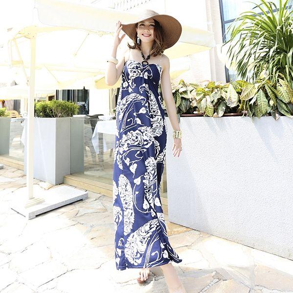 Summer Western Style Printing Halter Navy Maxi Dress