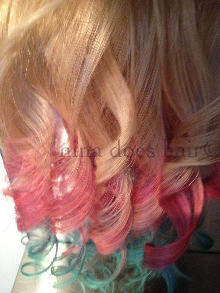 "18"", Ombre, Dip dyed, Blonde, Teal, Lavender, Pastel, Pink, Hair Extensions, Human HairHair Hair, Hair Makeup Nails Beautiful, Human Hair, Pink Ombre Hair Auburn, Pastel Pink Hair, Hair Spir, Hair Extensions, Colors Hair"
