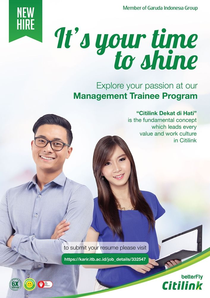 Jadilah bagian dari Citilink Indonesia melalui Management Trainee Program. Info >> http://bit.ly/2iLhTjs DEADLINE: 27 Januari 2017