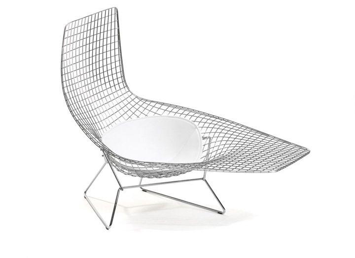 Bertoia Chaise: Bertoia Chairs, Asymmetrical Chairs, Harry Bertoia, Outdoor Chairs, Century Furniture, Asymmetrical Chaise Whit, Bertoia Asymmetrical Chai, Seats Cushions, Assymetr Chai