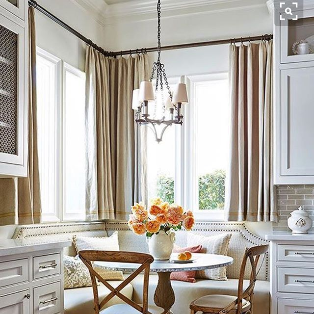 These curtains would be the perfect solution in the breakfast nook. Now if only I could get hubby to build new benches. Hum 🤔 #homedecorinspiration found on #Pinterest so go check out my account for more ideas.