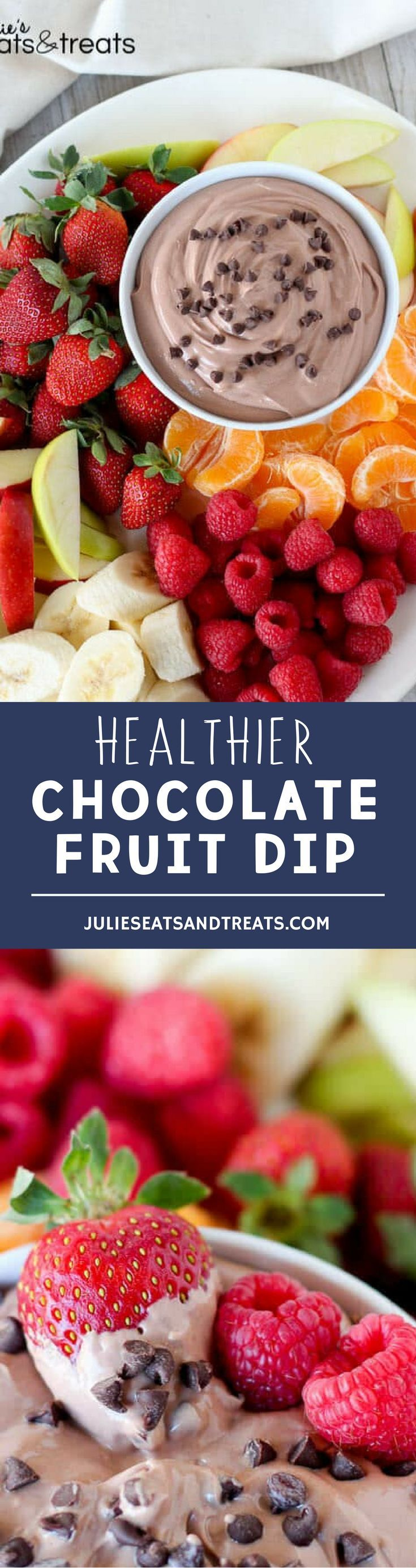 Healthier Chocolate Fruit Dip ~ A sweet and creamy chocolate fruit dip made healthier with Greek yogurt and light cream cheese. Serve with fruit or pretzels for dipping. More homemade and made from scratch recipes from @julieseats