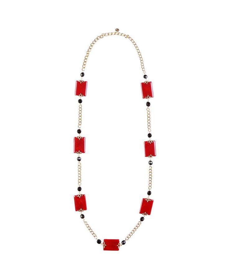 #Collana lunga con pietre color #wine alternate a piccole perline #nere