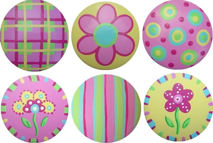 Colorful Summer Mix Handpainted Wood Drawer Pull Knobs Set of 6. $45.00, via Etsy.