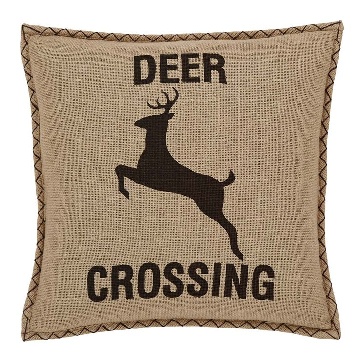 Dawson Star Deer Crossing Pillow is filled with down for a lodge look with a luxurious feel. The burlap pillow prominently displays a coffee brown deer stenciled in the center, surrounded by thick coffee brown whip stitching and two natural chalk button closures on reverse.  ++  BUY at DecorateTheSeason.com
