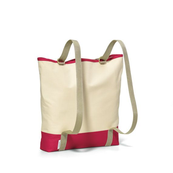 Personalized Red Convertible Backpack Tote Embroidered