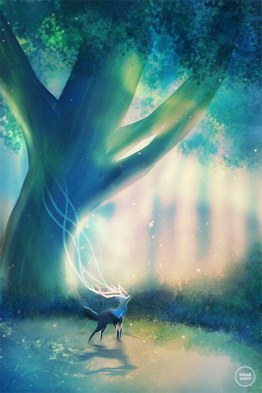 Pokemon Xerneas Poster: Eden van SugarmintsArtstore op Etsy