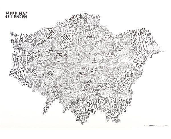 Image of Word Map Of London (Blue-Black)