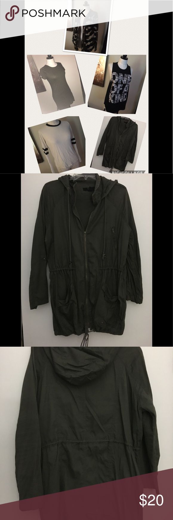 Forever 21 army green Jacket sweater lot M L The jacket is size large, sweater is size medium but can fit a large, muscle one of a kind tee size large, green striped dress size medium and white stripe tee is size large.. all are by forever 21. Forever 21 Tops Tees - Long Sleeve
