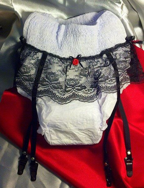 Gag Gift  Adult diaper with lace and garter straps. Over the hill gift