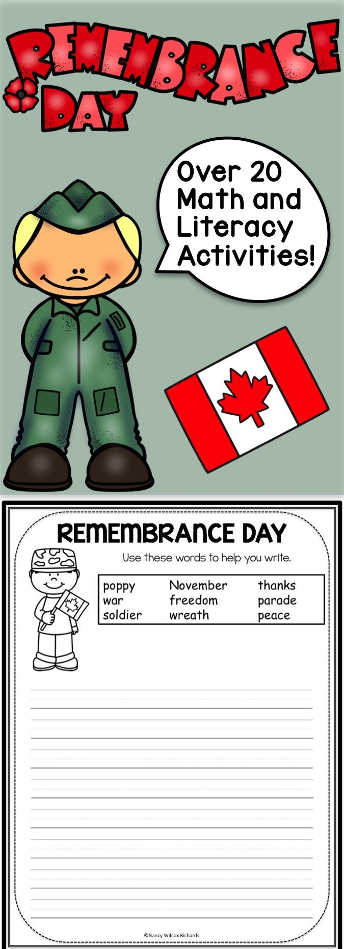 Math and writing activities for Remembrance Day! Great for K-3. Most are NO PREP!