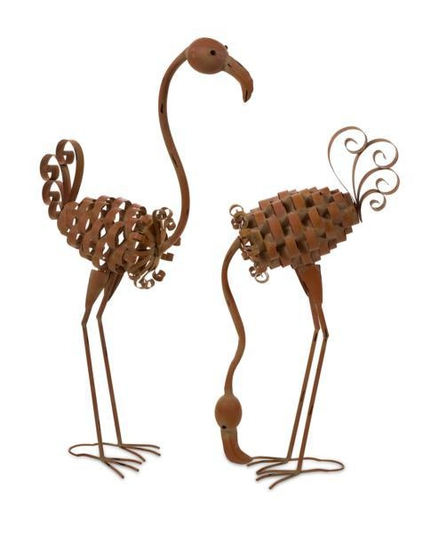 "Waldron Metal Flamingos - Set of 2 - Cute, fun set of 2 metal flamingos. Material: 100% Wrought Iron. 28-43""h x 26.25-21.25""w x 7.25""."