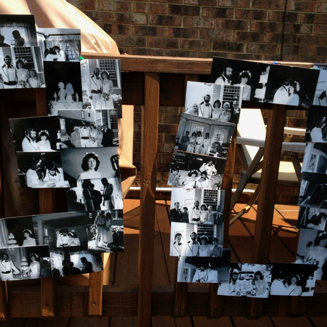 Anniversary photo collage, 30 years of love, made of their wedding photos