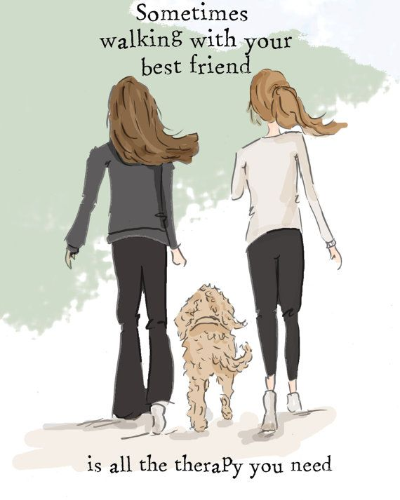 Walking with Your Best Friend Art for Women  Quotes for