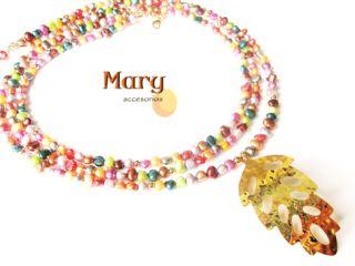 Collar hoja en bronce con perlas multicolor — maryaccesorios