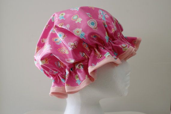 GIRLS Handmade Laminated Cotton Shower Cap  PVC FREE. by PureHaven, $22.99