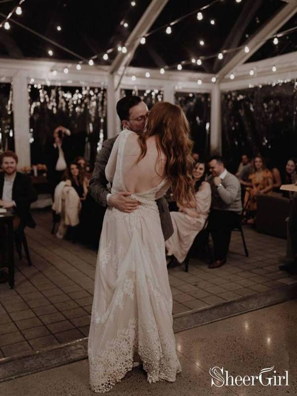Long Sleeve Ivory Sheath Wedding Dresses Backless Lace Applique
