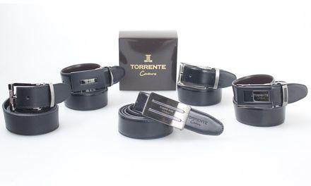 Ceinture hommes Torrente Couture 100% cuir,réversibles Noir/Marron,boucle détachable et taille ajustable à 23,90€ (-65%)