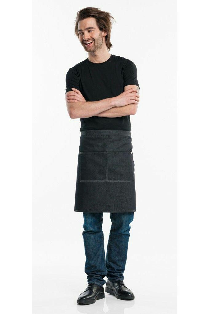 Apron long, black color, denim style. Price 29,95