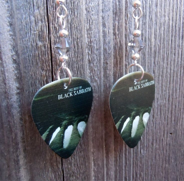The Best of Black Sabbath Album Guitar Pick Earrings with Grey Crystals by ItsYourPickToo on Etsy