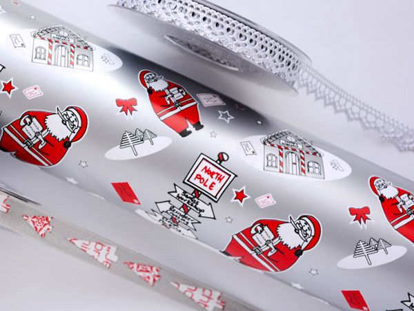 The Santa Sign Wrap available in a variety of colours.  #Barama #Giftpackaging #Packaging #Giftideas #Gifts #Presents #Wrapping #Giftwrapping #Wrappingpaper #Paper #Artsandcraft #Ribbon #Christmaswrapping #Christmas #Silver
