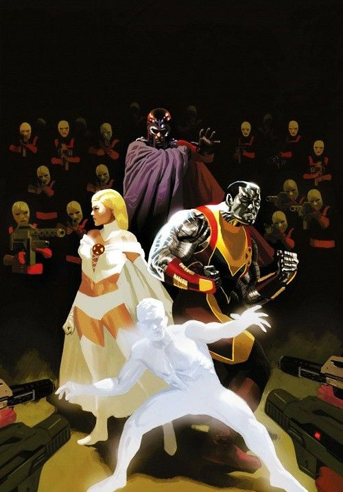 Emma Frost,  Magneto,  Colossus  and Iceman