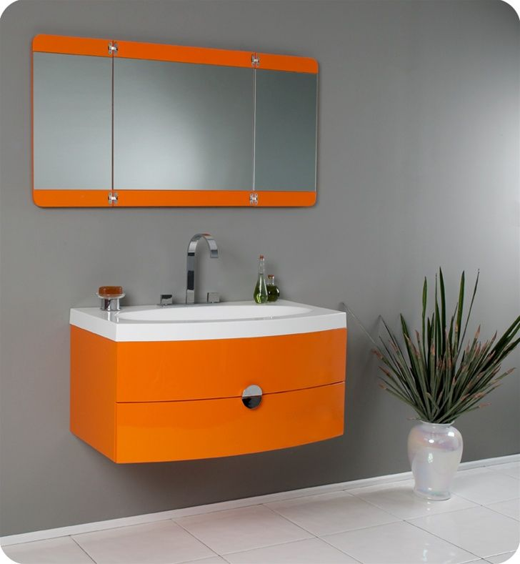 """Fresca Energia Orange Modern Bathroom Vanity with Three Panel Folding Mirror, This vanity http://www.listvanities.com/fresca-bathroom-vanities.html can fit anywhere. At 36"""" Fresca Energia Orange Modern Bathroom Vanity with Three Panel Folding Mirror, this vanity is ideal for adding some brightness or funk to your bathroom with its bright Orange color. Ingenious basin design is brought together with a large, tri-hinged mirror- a great addition: Modernbathroom, Panel Folding, Orange Modern, Modern Bathroom Vanities, Bathroom Vanity, Folding Mirror, Modern Bathrooms, Fresca Energia, Energia Orange"""