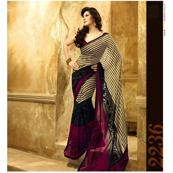 Zarine Khan Designer Saree Buy Online at www.Tisaya.com. found on Polyvore