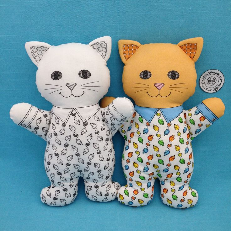 """Cat in Pajamas"" is a Cut and Sew fat quarter project that is available in black and white or color. The instructions are printed on the fat quarter. You only need fusible fleece for the ears and stuffing to complete these 11 inch tall cats. Also check out my bears, bunnies, and dogs. Link in Profile is for my Spoonflower shop."