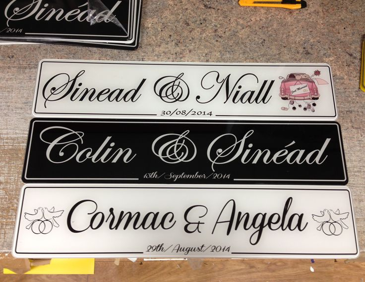 Unique wedding car number plates, any text & design you want. Only €15 per plate, order from bigdaysigns.com