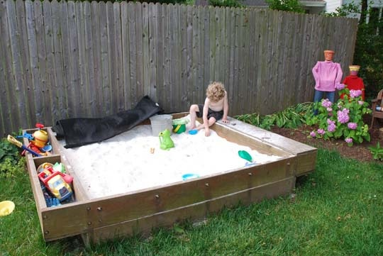 Homemade toy box plans woodworking projects plans for Sandbox with built in seats plans