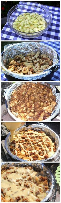 Dutch Oven Caramel Apple Pie  Ingredients    18 Rhodes AnyTime! Cinnamon Rolls, thawed but still cold  2 Granny Smith apples, peeled and ...
