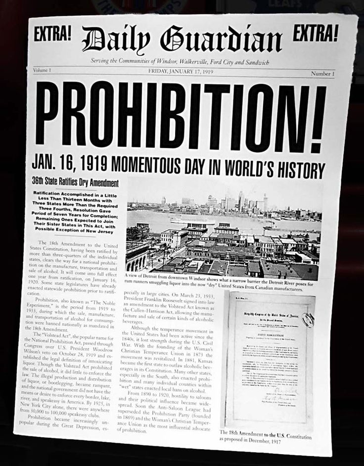 Prohibition Act begins. 1920s newspapers