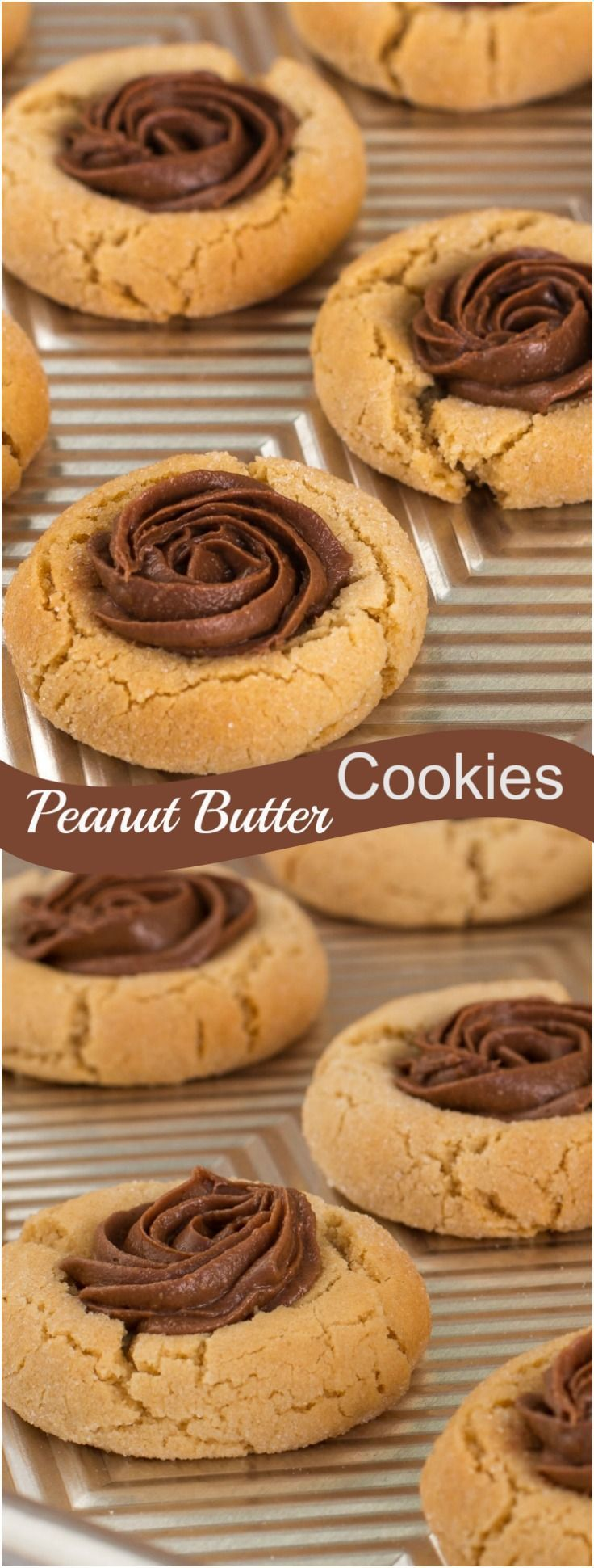 Peanut Butter Thumbprint Cookies with Reese Chocolate spread. Best Ever peanut butter cookie recipe!