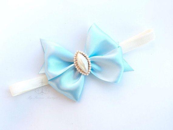 Luz azul diadema diadema lazo satén azul, lujo arco azul, arco azul de bebé…