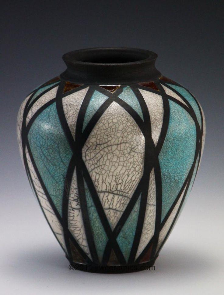 divided light raku vase jlw ceramics
