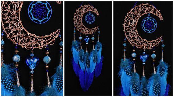 Blue Dream Catcher Moon Dreamcatcher by BestDreamcatcherShop