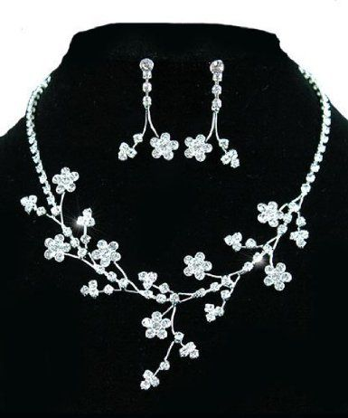 Sparkling Crystal Queen Floral Bridal Jewellery Earrings Necklace Set with PreciousBags Dust Bag: Amazon.co.uk: Jewellery