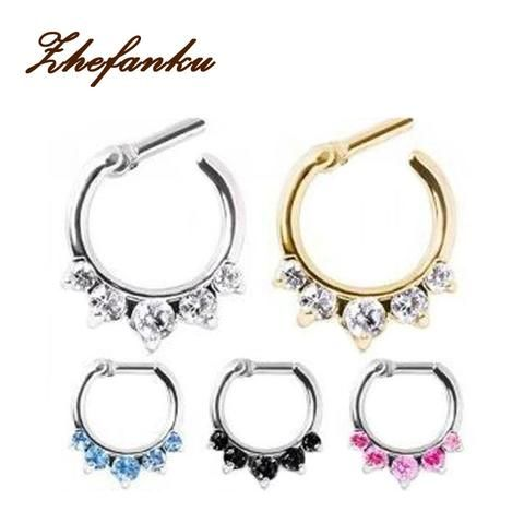 1 piece 2016 Surgical Steel Titanium 5 Crystal Nose Ring septum Clicker Tragus rings Piercing Body Jewelry Nose Hanger