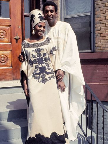 SINGER MIRIAM MAKEBA AND STOKELY CARMICHAEL ON THEIR WEDDING DAY, MAY 1968.