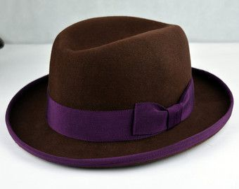 Classic Brown Homburg Fedora - Pure Wool Felt Gutter Crown Homburg Hat - Handmade- Men